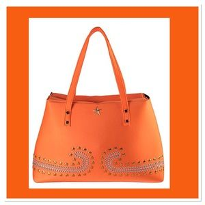 Orange Studded Neoprene Tote